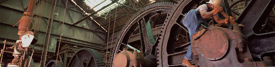 Industrial Worker wearing Red Wing Steel Toe Boots